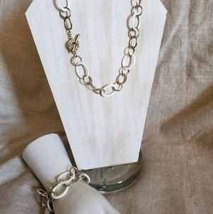 Vintage Monet White Lucite Link Necklace Bracelet
